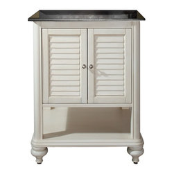 Avanity Corporation - Tropica - 24 in. Antique White Vanity - Vanity only in Antique White finish. Birch solid wood and veneer. Distressed wood feature. Brushed nickel finished hardware. Soft-close slatted doors and open shelf. Adjustable height levelers. Top not included. 24 in. W x 21 in. D x 34 in. H