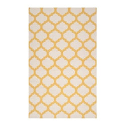 Z Gallerie - Casablanca Dhurrie Rug - Lemon - Our stunning Casablanca Dhurrie Rugs bring a touch of exotic style to complement a variety of decor settings. Artfully hand woven in India, this lush 100% wool traditional flat Dhurrie weave rug showcases natural ivory with lemon in a traditional quatrefoil motif.