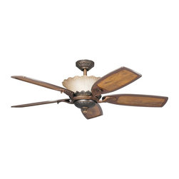 "DECORATIVE FANS - DECORATIVE FANS 300000OLZ Golden Iridescence 52"" Traditional Ceiling Fan - With an Oiled Bronze finish and ribbed glass, this fan is a wonderful addition to the Kichler Golden Iridescence™ Collection. The 5, 52"" blades are pitched 14 degrees and are reversible for your choice of a Teak or Teak with Distressed Insert finish. The 172mm x 20mm Motor will provide the quiet power you need. With full range dimming and Intelligent Return, the integrated uplight uses 4 15-watt B-10 bulbs. This fan comes complete with the Full Function CoolTouch™ Control System with independent up and down light control and 6"" and 12"" (3/4"" I.D.) downrods."