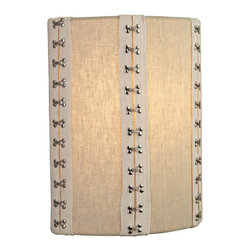 """LBL Lighting - LBL Glama 11"""" High Tan Fabric Wall Sconce - Fabric wall sconce from LBL Lighting features hook and eye closure details that link the vertical elements together. Tan shade panels and lighter edging look stitched together by the metal elements. Gives the piece a visual interest to match its warm light. Perfect for contemporary coastal or transitional decor. Tan fabric wall sconce. Metal hook and eye accent details. Metal base. ADA compliant. Includes one 75 watt A19 bulb. 11"""" high. 9 1/2"""" wide. Extends 4"""" from the wall.  Tan fabric wall sconce.  Metal hook and eye accent details.  Metal base.  ADA compliant.  Includes one 75 watt A19 bulb.  11"""" high.  9 1/2"""" wide.  Extends 4"""" from the wall."""