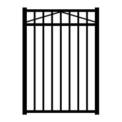Jerith - Jerith Black 3-Rail Style Single Aluminum Walk Gate - AS54BE36 - Shop for Fencing and Fencing Materials from Hayneedle.com! The Jerith Black 3-Rail Style Single Aluminum Walk Gate is pre-assembled so installation is a breeze. This walk gate is made of strong aluminum alloy and features a powder-coated black finish that won't crack chip or peel. Gate posts not included. This walk gate has less than 4 inches between pickets and 47-inch rail spacing which meets most swimming pool enclosure codes. Always consult your local building department for pool codes prior to installing a fence.About Jerith:Since 1961 Jerith has been producing top-notch ornamental fences and revolutionizing the standard of fencing from its family owned location in Philadelphia PA. Known for their high-quality products and outstanding service Jerith is constantly improving their techniques and holds numerous patents within the fencing market all with the intent of bringing you the best possible product. Jerith understands that when you buy a fence for your home you expect it to last as long as your home does and that s what they give you. Their proud tradition of US-made outstanding fences and customer service is held to the highest standard in the industry.