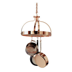 Frontgate - Copper Dutch Crown Pot Rack - Includes grid. Mounts on single-point hook. Includes 12 angled hooks, 6 straight hooks. All hardware necessary for assembly and installation. Keep your favorite pots and pans from being stacked and damaged in drawers with the Dutch Crown Pot Rack. The stunning copper rack adds royal charm to any kitchen decor and is easily hung by use of a single hook and linked chain.  .  .  .  . Made in the USA.