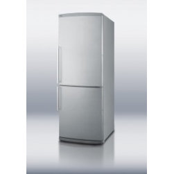 """Stainless Steel Fridges - Summit FFBF285SS 28"""" 13.8 cu. ft. Capacity Bottom-Mount Refrigerator, Adjustable Thermostat, Interior Light, Adjustable Glass Shelves, Energy Star Rated: Stainless Steel"""