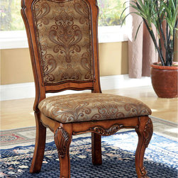 Furniture of America - Furniture of America Elantia Antique Oak Side Dining Chairs (Set of 2) - Beautifully designed to fit in any sophisticated and traditional setting,this delightfully formal dining chair set offers a variety of sophisticated features that are sure to impress your guests.