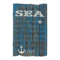 Blue Polished Fascinating Wood Wall Plaque - Description:
