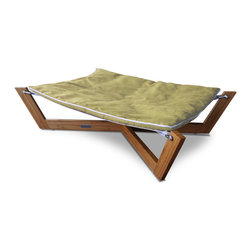 Pet Lounge Studios - Bambu Cross Hammock I, Kiwi Green, Small - The Bambú Hammock's combination of clean lines, unique sleeping surface and rich eco -friendly materials make it our most sought after design. The unique sleeping surface responds to your pet's body weight which helps relieve many of the pressure points that create discomfort and often lead to arthritis. The Hammock is designed with a solid bamboo frame and a removable/reversible ultra-suede cushion which is inherently stain resistant and hypoallergenic.