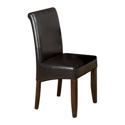 Jofran - Jofran 888 Series Chestnut Bonded Leather Parson Chair (Set of 2) - Jofran - Dining Chairs - 888480KD - This Jofran Dining Parson Chair is constructed of Cherry veneer and solid Asian hardwood in a Carlsbad Cherry finish. It features a Chestnut bonded leather seat and tapered legs.