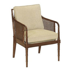 Hickory Chair Accent Chairs - This Sheraton occasional chair is detailed with delicate bamboo turnings on the front arms, legs, and back. Each side, like the antique Sheraton chair that inspired this small seat, is inset with caning. Medium Mahogany is the standard finish as shown. Spring-Down seat cushion and Blend-Down back cushion standard.