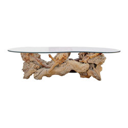 Tables & Case Pieces - This one of a kind coffee table features an epic burled wood branch as the base, which is topped off by a bean-shaped piece of glass.