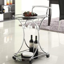 Coaster - Black Contemporary Kitchen Cart - This serving cart features two black glass shelves, wine bottle and stemware rack and 4 casters for easy mobility. Metal accents are in a chrome finish.