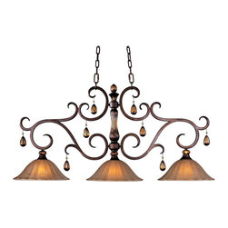 Maxim - Maxim 22269EMFL Filbert Dresden Tuscan Three Light Down Lighting - With Old World charm, Dresden s Flemish metalwork in Filbert finish gracefully curves around a center column of translucent antique glass, and its amber crystal pendants and candle-like lamps warm the room. Choose classic A-line shades or frosted Ember glass.  Three light down lighting island / billiard fixture featuring ember glass shades and amber crystals Requires 3 100w Medium base bulbs (not included)