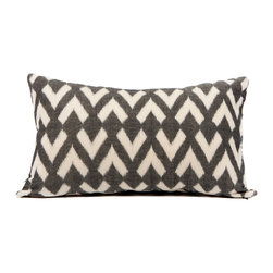 Charcoal Arrow Lumbar Pillow - Made of 100% cotton, this lumbar pillow is double-sided  with poly-down-feather fill. Hand woven by Khmer artisans skilled in Cambodian Ikat. Artisans receive healthcare, financial planning, and skills training from Basik 855. These pillows help sustain and support their makers. Feather blend insert included.
