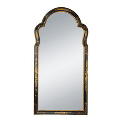 """Inviting Home - Chinoiserie Wall Mirror - Chinoiserie style wall mirror in wooden frame with black and gold design 25-1/2"""" x 2-1/2""""D x 51""""H Hand-crafted vertical Chinoiserie style mirror. Wall mirror has beautiful black scalloped wooden frame hand painted in gold with traditional Chinoiserie design."""
