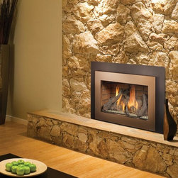 Fireplace Xtrordinair by Travis Industries - FPX 33 Basic GreenSmart Gas Insert - Shown with the Bronze Shadowbox Face, Driftwood Fire Art and Brick Fireback.