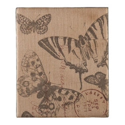 Southern Enterprises - Mariposa Burlap Message Board - Add a fun, vintage touch to any room with this beautiful message board. It's perfect as an accent and can be used as a functional bulletin board too! This message board features a black base with a natural burlap finish and beautiful butterfly designs in black and red. The message board also includes a lovely burlap strap for optional decorative hanging. This message board is perfect for homes with any style of decor and looks wonderful in any room; it's a great addition to any empty wall and over mantels or console tables too.