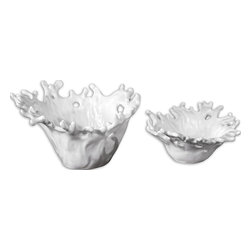 White Coral Decorative Bowls, Set/2 - These Decorative Bowls Feature A Smooth, Very Pristine, Gloss White Finish. Sizes: Sm-13x6x12, Lg-17x10x15