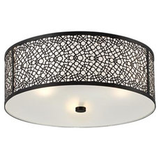 "eclectic ceiling lighting Black Circle Drum 15 3/4"" Wide Flushmount Ceiling Light 
