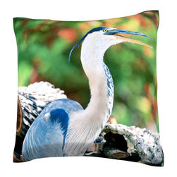 Custom Photo Factory - Great blue heron Polyester Velour Throw Pillow - Great blue heron standing on logs 18 x 18 Inches  Made in Los Angeles, CA, Set includes: One (1) pillow. Pattern: Full color dye sublimation art print. Cover closure: Concealed zipper. Cover materials: 100-percent polyester velour. Fill materials: Non-allergenic 100-percent polyester. Pillow shape: Square. Dimensions: 18.45 inches wide x 18.45 inches long. Care instructions: Machine washable