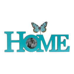 K&K Interiors - Butterfly 'Home' Block Sign - With this heartfelt piece of décor displayed on your mantel or bookshelf, you can easily celebrate your wonderful family with all your visitors.   16'' W x 6'' H Medium-density fiberboard Imported