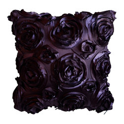 KH Window Fashions, Inc. - Textured Rose Pillow- Purple - This textured rose pillow adds a pop of color to any space.  The texture and vibrant color is exquisite.