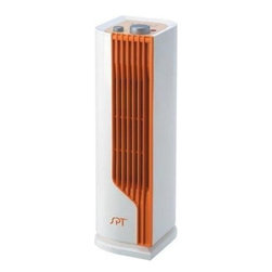 Sunpentown Mini-Tower Ceramic Heater - This small, slim Sunpentown tower heater can easily be tucked onto a shelf or counter to warm the room with oscillating heat. Safety features include overheat protection, cool-to-the-touch casing and a tip-over switch.