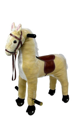 Trademark Global - Kids Wheeled Plush Horse w Saddle, Foot Rest - Recommended Age: 2 years old & up. Recommended Weight Limit: 80 lbs.. Rolling wheels. Pop down foot rests for added comfort. Soft and plush to the touch. Hand crafted with a hard wood core and stands on sturdy wood rockers. 12 in. L x 23 in. W x 28.50 in. H (25 lbs.)This cuddly creature is a wonderful toy and a beautiful piece of furniture. Any child would love to ride on this friendly Happy Trails brand Horsey! Its stately and striking appearance will look great in any child's room.