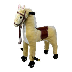 Happy Trails - Kids Wheeled Plush Horse w Saddle, Foot Rest - Recommended Age: 2 years old & up. Recommended Weight Limit: 80 lbs.. Rolling wheels. Pop down foot rests for added comfort. Soft and plush to the touch. Hand crafted with a hard wood core and stands on sturdy wood rockers. 12 in. L x 23 in. W x 28.50 in. H (25 lbs.)This cuddly creature is a wonderful toy and a beautiful piece of furniture. Any child would love to ride on this friendly Happy Trails brand Horsey! Its stately and striking appearance will look great in any child's room.