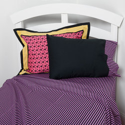 "Sassy Shaylee - Full Sheet Set - Flat and fitted sheets come in our ""Purple & Black Stripe"" cotton fabric.     Standard pillowcase come in solid black and trim in ""Purple & Black Stripe"" cotton fabrics."