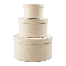 KVARNVIK Box, Set of 3, White - Store supplies, clothes, etc. in these stylish, jute-covered, round boxes. If you're feeling crafty, you could even stencil the outside with a fun design.