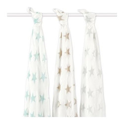 Aden and Anais - Aden and Anais Milky Way Bamboo Swaddles Set of 3 - The ultimate in swaddling comfort brought to you and baby by bamboo!