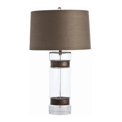 Arteriors Home - Arteriors Home Garrison Cylinder Vintage Brass/Glass Lamp - Arteriors Home 46633 - Arteriors Home 46633-163 - Clear glass cylinder table lamp is cinched with a pair of iron rings in vintage brass finish. Topped with mushroom brown linen drum shade with sesame cotton lining.