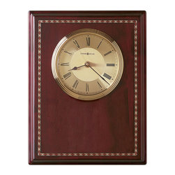 Howard Miller - Howard Miller Honor Time II Plaque Wall/Table Clock - Howard Miller - Wall Clocks - 625256 - This contemporary plaque clock can be customized with an engraving plate to create a memento for your tabletop or wall. Distinguished by its brushed brass tone dial with diamond-cut numeral ring, attractive matching bezel and marquetry detailing, the Honor Time II Plaque Wall/Table Clock has a nice glow to it. Beautiful hardwood framing in a rosewood finish and quality quartz movement operation complete the look and appeal of this accent clock.