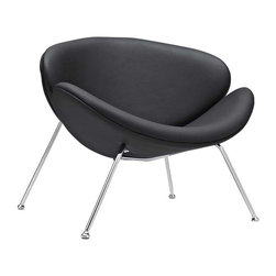 """Modway - Nutshell Lounge Chair in Black - Sprawling horizons roll gently outward from this deep-seated Nutshell Lounge Chair. Unwrap the graceful duet of soft-cushioned molded """"shells"""" positioned artistically on tube chrome legs. Achieve surprising results as you make your escape from traditional seating toward radical positioning."""