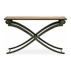 Clyde Console Table - An elegant blend of past and present, the Clyde Console Table updates an old world silhouette for today's home. Gentle curves soften its criss-crossed metal legs for a sophisticated accent in the living room, bedroom or entryway. This vintage-inspired rectangular table is shown in Cashew with Blackened Iron Base. Our Cottage House Collection is a wonderful blend of antique cottage style furniture that beautifully interpret reproductions through a labour of passion and quality. Using a multi-layered hand lacquering and antiquing process, these heirloom quality furniture pieces are designed to last generations. What makes this collection stand out from the rest is its great attention to detail. The ideal solution to bring an eclectic, old world feeling into today's modern decor!