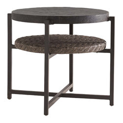 Frontgate - Blue Green Round Outdoor End Table, Patio Furniture - Aluminum frame has a unique textured finish. Inset Weatherstone top is hand-finished to replicate the textured look of natural slate yet is made from fiberglass and concrete for superior strength and durability, UV resistance and stain resistance. High-density polyethylene wicker offers a high tensile strength, low maintenance and resistance to UV exposure, mildew, fading, staining, stretching and cracking. All-weather wicker is easy to clean with a mild solution of soap and water. Elevate al fresco relaxation with contemporary warmth. With a sleek geometric shape and inviting materials, the all-weather Blue Olive Round End Table is a casual complement for any outdoor seating area. The rich Weatherstone tabletop mimics the luxurious look of natural slate while slate-gray wicker, hand-woven into a channeled herringbone design, adds texture and an additional surface for storage or display.  .  .  .  .