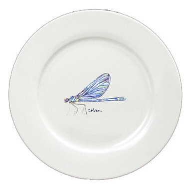 Caroline's Treasures - Dragonfly Round Ceramic White Dinner Plate 8865-DPW-11 - Dragonfly Round Ceramic White Dinner Plate 8865-DPW-11 Heavy Square Ceramic Plate 11 inches. LEAD FREE, dishwasher and microwave safe. The plate has been refired over 1600 degrees and the artwork will not fade or crack.