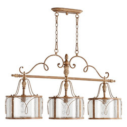 Quorum Lighting - Quorum Lighting Salento Traditional Kitchen Island / Billiard Light X-49-3-6056 - This Quorum Lighting kitchen island/billiard light from the Salento Collection features three lights arranged in linear fashion. The frame features a single straight arm that is adorned with finials and elegant scrolled accents which compliment the delicate frame work of the beautiful diffusers. Clear hurricane glass and French Umber finishing completes the look.