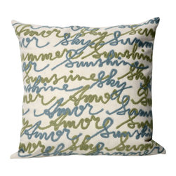 """Trans-Ocean Inc - Amour Blue 20"""" Square Indoor Outdoor Pillow - The highly detailed painterly effect is achieved by Liora Mannes patented Lamontage process which combines hand crafted art with cutting edge technology. These pillows are made with 100% polyester microfiber for an extra soft hand, and a 100% Polyester Insert. Liora Manne's pillows are suitable for Indoors or Outdoors, are antimicrobial, have a removable cover with a zipper closure for easy-care, and are handwashable.; Material: 100% Polyester; Primary Color: Cream;  Secondary Colors: blue, sage; Pattern: Amour; Dimensions: 20 inches length x 20 inches width; Construction: Hand Made; Care Instructions: Hand wash with mild detergent. Air dry flat. Do not use a hard bristle brush."""