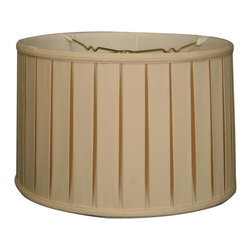 """""""Royal Designs, Inc"""" - """"Shallow Drum English Box Pleat Basic Lampshade - Eggshell 17 x 18 x 11.5, 6-way - """"This Shallow Drum English Box Pleat Basic Lampshade is a part of Royal Designs, Inc. Timeless Basic Shade Collection and is perfect for anyone who is looking for a traditional yet stunning lampshade. Royal Designs has been in the lampshade business since 1993 with their multiple shade lines that exemplify handcrafted quality and value.Please note that there will be an over-sized shipping surcharge for this lamp shade. All other shipping promotions will still be accepted, unless otherwise noted. Exterior Fabric: Hand Tailored Silk-Type Shantung (except Linen, Mouton, Burlap & Faux Rawhide fabrics)Interior Fabric: Off-White Softback Lining (Black, Burlap & Faux Rawhide fabrics have gold lining)Washer: Standard brass-finish spider fitter, use a finial to fasten shade. (All shades with 9�+ top diameter have a V-Notch fitter for use on a 6� or 8� reflector bowl)Trim: Top and bottom trim (single or double) with vertical pipingFrame: Heavy grade rust resistant metal frameBulb: Suggested maximum wattage is 150-watt for most sizes Height is measured by slant height from top to bottom of the lampshades� front face"""