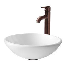 Vigo - VGT202 White Vessel Sink with Oil Rubbed Bronze Faucet - The VIGO White Phoenix Stone Glass Vessel Sink with Oil Rubbed Bronze Faucet will bring a contemporary look to any bathroom.