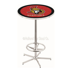 Holland Bar Stool - Holland Bar Stool L216 - 42 Inch Chrome Ottawa Senators Pub Table - L216 - 42 Inch Chrome Ottawa Senators Pub Table  belongs to NHL Collection by Holland Bar Stool Made for the ultimate sports fan, impress your buddies with this knockout from Holland Bar Stool. This L216 Ottawa Senators table with retro inspried base provides a quality piece to for your Man Cave. You can't find a higher quality logo table on the market. The plating grade steel used to build the frame ensures it will withstand the abuse of the rowdiest of friends for years to come. The structure is triple chrome plated to ensure a rich, sleek, long lasting finish. If you're finishing your bar or game room, do it right with a table from Holland Bar Stool.  Pub Table (1)