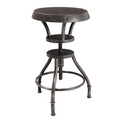 Great Deal Furniture - Austin Industrial Metal Bar Stool - Industrial counter-revolution: This heavy-duty, steel bar stool turns out to offer very accommodating seating for bar, counter or kitchen island — all with a distinct, urban chic twist. Of course, you can also employ it at your work or drafting table, simply by rotating the seat up or down.