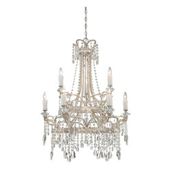 Quoizel - Quoizel TCA5009VP Tricia Traditional Crystal Chandelier - Flawless beauty is Tricia.  With its cascading crystal strands, beads and drops, this stately design is a timeless look of symmetry and sophistication.  The elegance is made complete with the vintage silver finish.