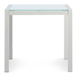 Blu Dot - Blu Dot Skiff Square Outdoor Table - A sophisticated and weather-proof side table is a must for your backyard entertaining needs. Whether you're resting a good book or a cold beverage, this chic little table has got you covered. Tempered glass and white anodized aluminum make a great pairing in your chic yard.