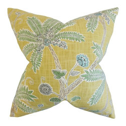 """The Pillow Collection - Mead Floral Pillow, Amber 20"""" x 20"""" - Bring a tropical touch to your interiors with this exotic accent pillow."""