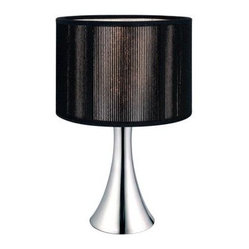 Black Bedside Lamps: Fabienne 12-1/2 in. Chrome Table Lamp with Black Shade 2010