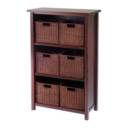 "Deluxe Comfort - Milan Seven-Piece Cabinet/Shef - Milan wood open storage cabinet comes with 6 rattan baskets. Finished in a warm walnut stain, this shelf coordinates well with most decor. The shelf at 43"" high and 28"" wide is an ideal height for use in almost any room in the house. Utilize the espresso rattan baskets for storage in home office, bedroom, family room and the top shelf can hold a lamp, flowers or artwork."