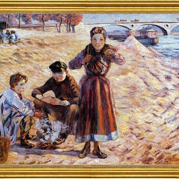 """Armand Guillaumin-16""""x20"""" Framed Canvas - 16"""" x 20"""" Armand Guillaumin The Little Thieves framed premium canvas print reproduced to meet museum quality standards. Our museum quality canvas prints are produced using high-precision print technology for a more accurate reproduction printed on high quality canvas with fade-resistant, archival inks. Our progressive business model allows us to offer works of art to you at the best wholesale pricing, significantly less than art gallery prices, affordable to all. This artwork is hand stretched onto wooden stretcher bars, then mounted into our 3"""" wide gold finish frame with black panel by one of our expert framers. Our framed canvas print comes with hardware, ready to hang on your wall.  We present a comprehensive collection of exceptional canvas art reproductions by Armand Guillaumin."""