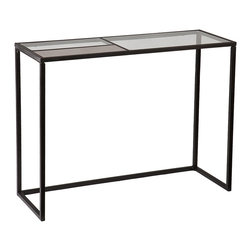 Eamce Console Black - Elegant and minimalist, this black Eamce console table combines metal and mixed glasses for a wonderful, artful look. The geometric lines of the black metal base are echoed in the divided tempered glass panel that features one antique mirror section. Work this console into the dining room or place in the entry for a striking welcome for your guests.