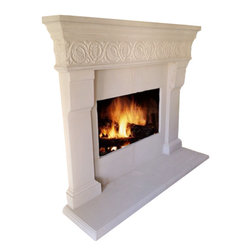 "Orzuna Precast - Fireplace Mantel - Fireplace mantel fits around a 48"" wide X 36""ht Firebox Needs an 82"" wall to rest on"